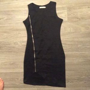 Black asymmetrical hem dress